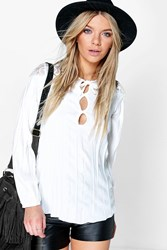 Boohoo Lace Panel Pleated Smock Blouse White