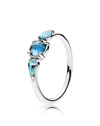 Pandora Design Ring Sterling Silver And Glass Patterns Of Frost Blue Silver
