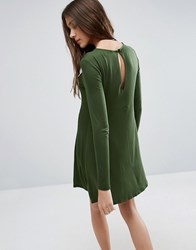Asos Swing Dress With Long Sleeves And Seam Detail Olive Green