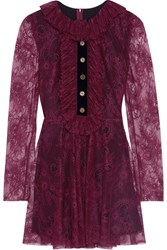 Philosophy Di Lorenzo Serafini Velvet Trimmed Ruffled Lace Mini Dress Plum