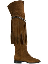 Casadei Fringed Flat Boots Brown