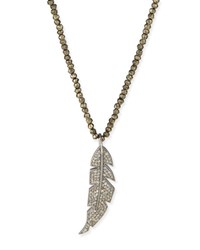 Siena Lasker Diamond Feather And Pyrite Pendant Necklace