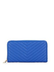 Kc Jagger James Chevron Quilted Faux Leather Zip Around Wallet Royal Blue