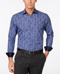 Tasso Elba Men's Paisley Contrast Cuff Shirt Only At Macy's Amparo Blue