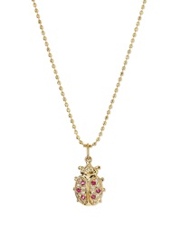 Sydney Evan 14K Gold Diamond And Ruby Ladybug Pendant Necklace