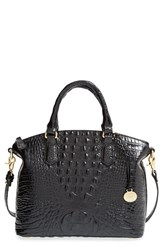 Brahmin 'Medium Duxbury' Croc Embossed Leather Satchel Black