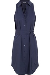 Equipment Claudia Belted Cotton Poplin Shirt Dress Navy