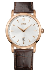 Hugo Boss Round Leather Strap Watch 40Mm Rose Gold Brown