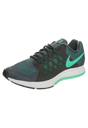 Nike Performance Zoom Pegasus 31 Cushioned Running Shoes Classic Charcoal Menta Green Glow Dark Blue