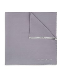 Turnbull And Asser Basic Solid Pocket Square With Border Silver