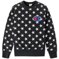 Champion Reverse Weave Stars Crew Sweat Black