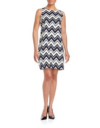Eliza J Chevron Stripe Dress Navy Ivory