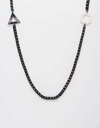 Asos Geometric Necklace With Side Pendants Black