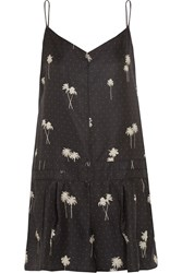 Rag And Bone Dune Printed Silk Twill Playsuit Gray