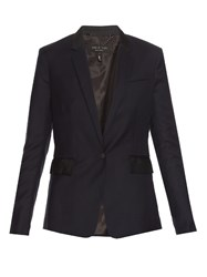 Rag And Bone Windsor Single Breasted Wool Blazer Navy
