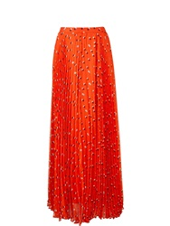 Karen Millen Dot Print Maxi Pleat Skirt Orange Orange