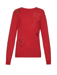 Raey Multi Heart Valentines Cashmere Sweater Red