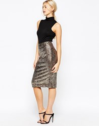 Oasis Sequin Pencil Skirt Gold