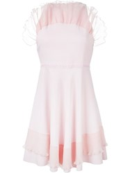 Giamba Ruffle Collar Cocktail Dress Pink And Purple