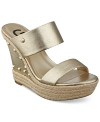 G By Guess Decaf Espadrille Wedge Sandals Women's Shoes Gold