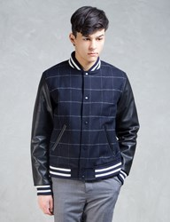 Silas Navy Embroidery Letterman Jacket