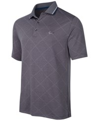 Greg Norman For Tasso Elba Men's Grid Jacquard Performance Polo Only At Macy's Grey