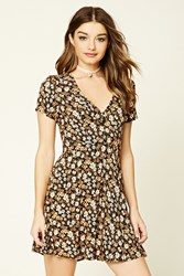 Forever 21 Floral Print Skater Dress Black Beige