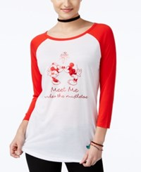 Freeze 24 7 Juniors' Disney Mickey And Minnie Mouse Graphic Baseball T Shirt White Red