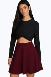Boohoo Fit And Flare Skater Skirt Berry