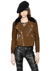 Saint Laurent Suede And Shearling Moto Jacket Camel Brown