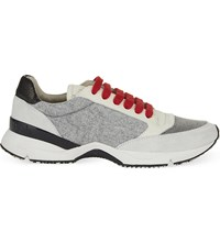 Brunello Cucinelli Chain Trim Wool And Leather Running Trainers Grey Red
