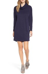 Lush Women's Long Sleeve Cowl Neck Sweater Dress Navy