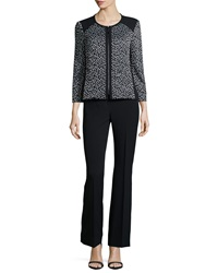 Albert Nipon Animal Print Zip Front Two Piece Pant Suit
