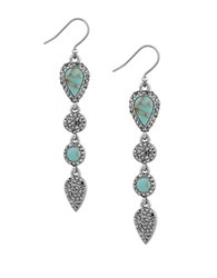 Lucky Brand Pave Peacock Semi Precious Reconstitution Calcite Linear Drop Earrings Turquoise