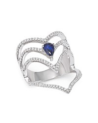 Bloomingdale's Diamond And Sapphire Multi Row Cage Ring In 14K White Gold