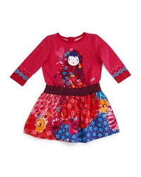Catimini Printed Fit And Flare Combo Dress Fuchsia Size 3T 6 Pink