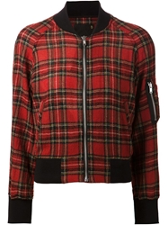 R 13 R13 Plaid Pattern Bomber Jacket Red
