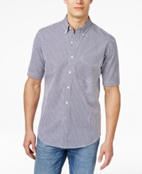 Club Room Big And Tall Men's Kendall Gingham Short Sleeve Shirt Only At Macy's Vibrant Navy