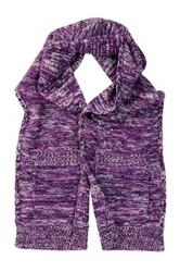 Onassis Shawl Collar Pocket Wool Scarf Purple