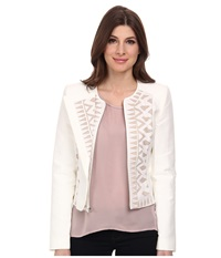 Bcbgmaxazria Floyd Lace Insert Jacket Off White Women's Coat Beige
