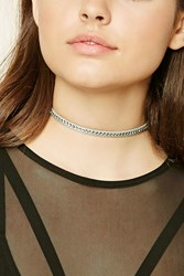 Forever 21 Faux Leather Rhinestone Choker