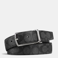 Coach Modern Harness Cut To Size Reversible Signature Belt Charcoal Black