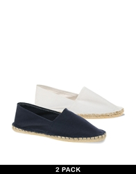 Asos Canvas Espadrilles 2 Pack Save 20 Navywhite