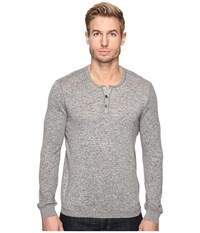 John Varvatos Long Sleeve Henley Sweater With Coverstitch Detail Y1443s4b Reflection Grey Men's Sweater Gray