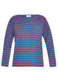 Saint Laurent Breton Stripe Cotton Jersey Top Red Stripe