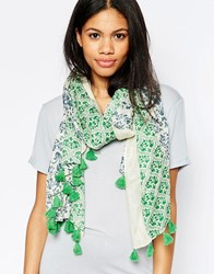 Yumi Lightweight Floral Paisley Print Scarf Green