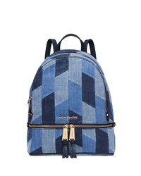 Michael Michael Kors Rhea Small Patchwork Denim Backpack Multi Blue