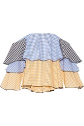 Caroline Constas Carmen Off The Shoulder Gingham Cotton Bustier Top Blue Yellow