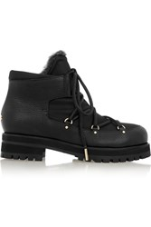 Jimmy Choo Ditto Shearling Lined Textured Leather And Canvas Ankle Boots