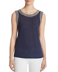 Generation Love Lucy Embellished Linen Tank Navy